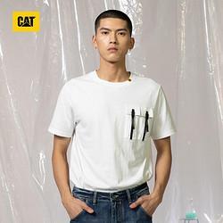 CAT卡特彼勒CAT卡特2021春夏新款短袖t恤男100%棉纯色圆领口袋短T男士上装CK1TSQ11461白色XXL99.5元