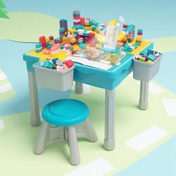 MINGTA铭塔铭塔儿童AI伴读积木桌子男孩女孩婴儿玩具3-6-8岁塑料拼插拼装游戏桌餐椅台多功能学习桌生日礼物88.1