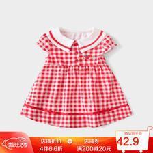 杰里贝比 女童连衣裙童装儿童裙子新款婴儿公主裙夏季宝宝夏装洋气 红色格子 90CM50.77元(需买4件,共203.08元,需用券)