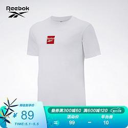 Reebok锐步Reebok锐步运动经典男女短袖徽标T恤圆领修身GV0273_白色A/L69.1