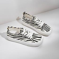 Semir森马21夏季新品潮流个性方头帆布鞋小白鞋女款板鞋休闲鞋运动鞋女鞋140