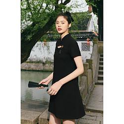 PEACEBIRD太平鸟太平鸟国风麦穗短袖镂空连衣裙女改良式旗袍收腰后背刺绣小黑裙