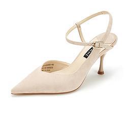 DAPHNE达芙妮21春季通勤鞋时尚性感尖头酒杯跟织物高跟女单鞋 93.9
