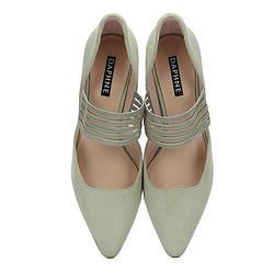 DAPHNE达芙妮春季新款复古织物高跟鞋细跟中空玛丽珍鞋透明时髦彩色松紧带单鞋 58.9