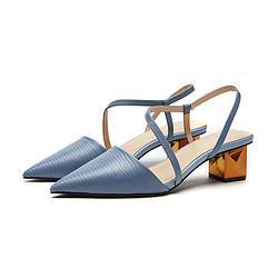 hotwind热风商场同款2021年春季新款女士气质时尚尖头套脚牛皮粗跟鞋女单鞋 129