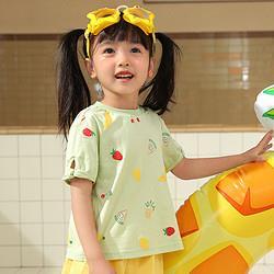 Deesha笛莎婴幼女童短袖T恤21夏新款宝宝儿童时尚打底衫上衣 39元
