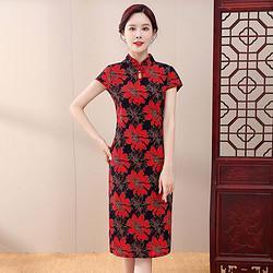 中年女士妈妈装夏装裙子中老年女装夏季短袖气质旗袍洋气连衣裙 29.9元