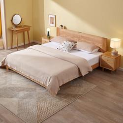 QuanU全友全友家居实木床北欧简约卧室双人床北美进口橡木板式床DW10211.5m床床头柜*23166元