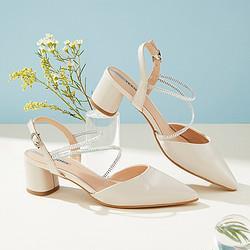 Teenmix天美意天美意凉鞋女夏商场同款通勤矮粗跟绵羊皮革凉鞋女520礼物277元