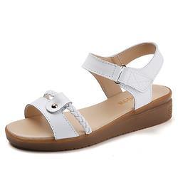 尚绒依源凉鞋女夏中跟妈妈女鞋平底舒适百搭中年软底凉鞋大码白色3887.1元