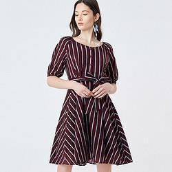 HOPESHOW红袖红袖夏装新款百搭显瘦系带收腰单排扣V领连衣裙 65元