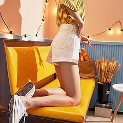 Tonlion唐狮2021年夏季新款高腰牛仔裤女直筒韩系卷边简约短裤女装裤子潮 74元