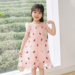 followme富罗迷女童连衣裙2021年夏季新款小童连衣裙水果网纱公主蓬蓬裙 69元