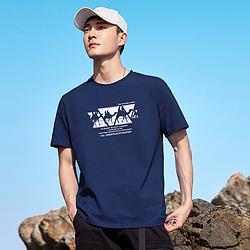 PioneerCamp拓路者夏季男式短袖t恤骆驼印花纯棉内搭青年运动半袖体恤衫 42元