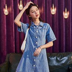 Tonlion唐狮女士连衣裙2021新款夏季牛仔裙韩版宽松气质显瘦衬衫连衣裙 152元