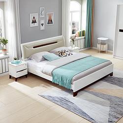 QuanU全友家居双人床简约121806床+床头柜*1+床垫1800*2000 2086元