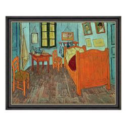 Artron雅昌梵高油画《梵高的卧室》沙发背景墙装饰画挂画爵士黑57*68cm