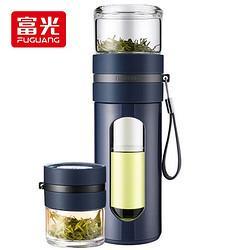 FUGUANG富光泡茶师系列双层透明茶水分离塑玻杯带滤网便携隔热办公玻璃茶杯深蓝色340ML(GP1609-340)80.1元(需买2件,共160.2元)