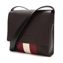 BALLY巴利男士皮质单肩斜挎包咖啡色红白条纹BEIVIN2216226301