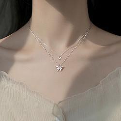 OSA欧莎梦蝶闪钻蝴蝶双层项链女简约设计感锁骨链气质ins冷淡风颈链    33元
