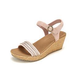 SKECHERS斯凯奇凉鞋女夏2021户外休闲坡跟小圆珠一字带中跟凉鞋 182元