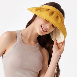 宿丝MZ1003贝壳帽夏季遮脸沙滩大帽檐遮阳帽骑车空顶太阳帽子向阳黄 19.89元