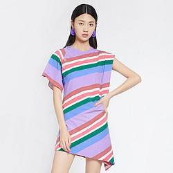 BASICHOUSE百家好BasicHouse/百家好韩版撞色条纹个性不规则连衣裙 126元
