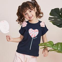Souhait水孩儿souhait水孩儿童装夏季新款女童时尚印花圆领衫儿童T恤39元
