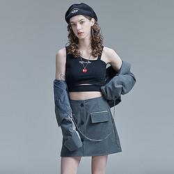 GUUKA古由卡潮牌黑色吊带背心女外穿嘻哈印花针织抹胸运动小背心女