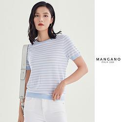 MANGANO春装新款女装100%羊毛圆领简约字母印花短袖女式羊毛衫