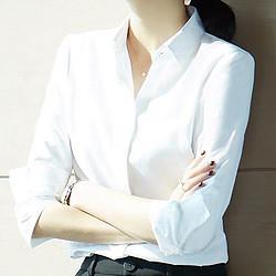 Imdavid爱大卫纯色长袖职业衬衫女翻领气质百搭基础款女式衬衫 88元