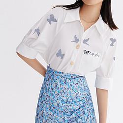 LILY丽丽未来感反光蝴蝶印花不对称廓形字母刺绣衬衫