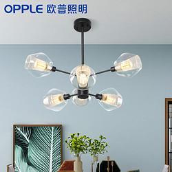 OPPLE欧普照明后现代吊灯客厅灯饰简约餐厅卧室大气北欧分子灯具朵拉黑色6头 481.3元