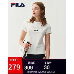 FILA斐乐女装短袖t恤WHITELINE官方女子2021春季新款时尚休闲运动短袖上衣标准白-F51W138153AWT165/84A/M309元