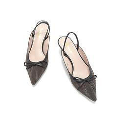 BeLLE百丽外穿春商场同款可爱蝴蝶结细跟沙丁布/羊皮革凉鞋159元