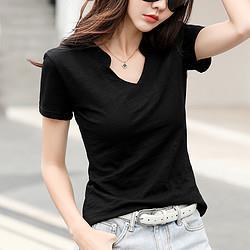GCMUSCLE性感气质夏季修身大V领时尚气质轻奢性感女式T恤夏59元