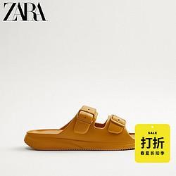 ZARA新款男鞋焦糖棕色双带饰凉鞋沙滩鞋1270472014579元