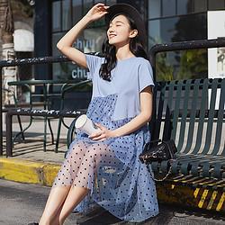 YUZHAOLIN俞兆林优雅气质网纱拼接外出孕妇装连衣裙夏孕妇裙夏 49元
