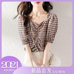 音卓法式复古方领泡泡袖格子上衣收腰短袖设计感小众夏季新款女式衬衫49元