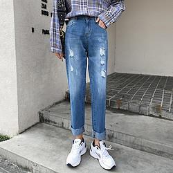 7.Modifier拉夏贝尔旗下女生宽松磨破做旧牛仔裤时尚女式牛仔裤 48元