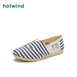 hotwind热风21年春季新款女士时尚条纹布鞋平底单鞋休闲鞋H30W158263元