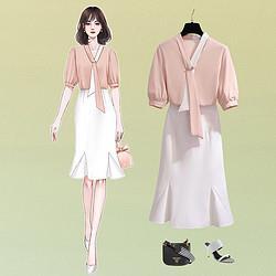 stylecloth诗可洛2021夏季新款撞色轻熟风职业装气质女神范半身鱼尾裙套装女 122元132元