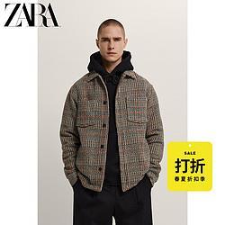 ZARA[折扣季]男装格子纹理衬衫式夹克外套04050825700 79元