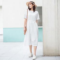 子陌夏装新品简约纯棉短袖过膝长款连衣裙 97元