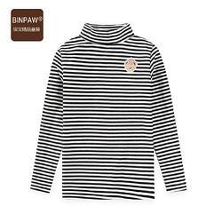 2021春秋新款女童打底衫时尚经典条纹加厚双面德绒半高领衫_黑白条,110cm29.7元