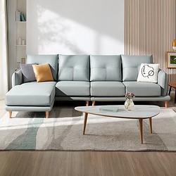 QuanU全友102658北欧科技布实木沙发左2+右2+脚凳 2897元