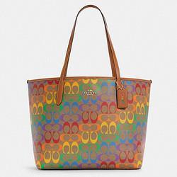 COACH蔻驰奢侈品女士托特包单肩手提包卡其色PVC配皮C4181IMMU4 1250元