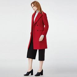 SHOWLONG舒朗时尚舒适双排扣翻领羊毛大衣 191元