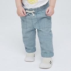 Gap盖璞婴儿纯棉水洗牛仔裤6696182021秋季新款洋气童装卷边长裤 53元