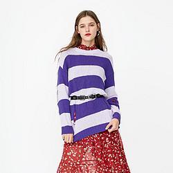 ONLY秋季破洞条纹圆领针织衫女|118324545 63元
